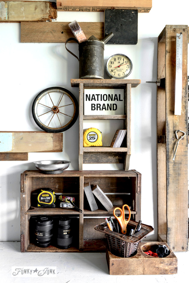 Crate organizer / Reclaimed wood wall and junky storage in the workshop - FunkyJunkInteriors.net