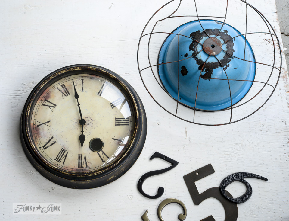 Learn how to make a rustic junk-styled file sorter, quirky clock, and cool twine station from a reproduction vintage fan cover!