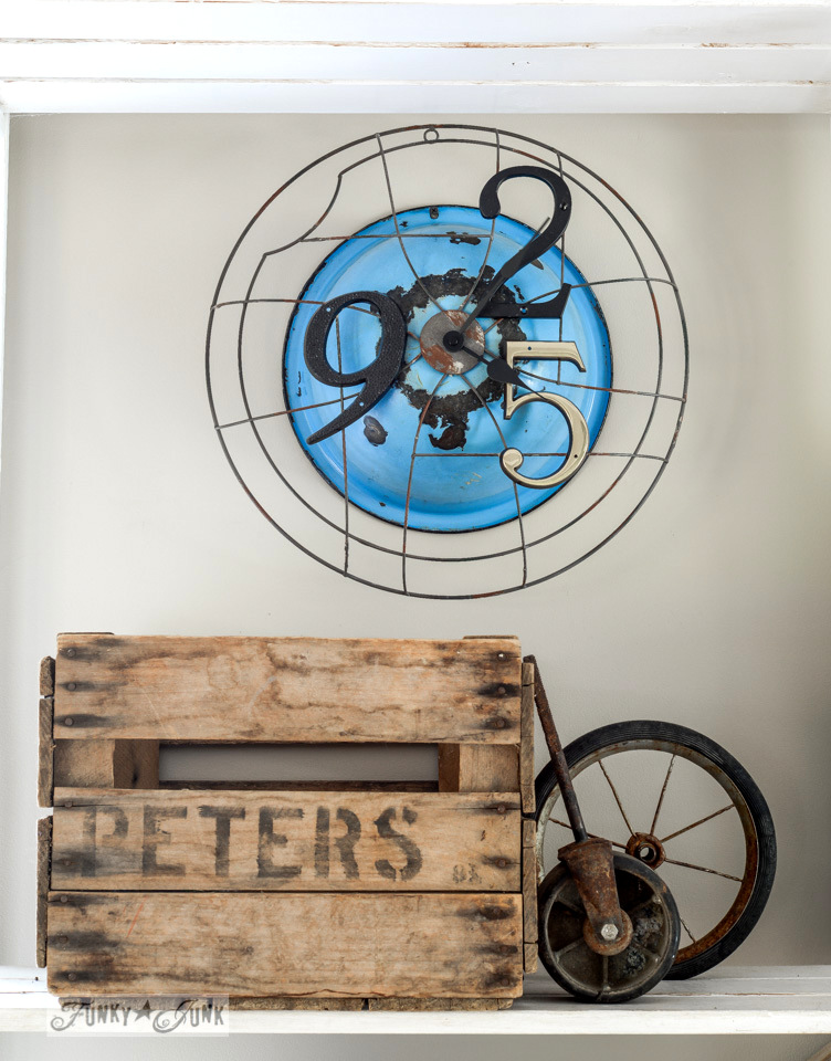 Junk clock and crate / 9 - Tell your friends and you'll land more than shutters. Inspiring post by FunkyJunkInteriors.net