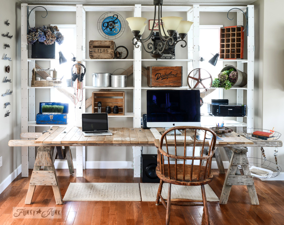 A junky blog office / part of A junk styled file sorter, quirky clock, and cool twine station via FunkyJunkInteriors.net