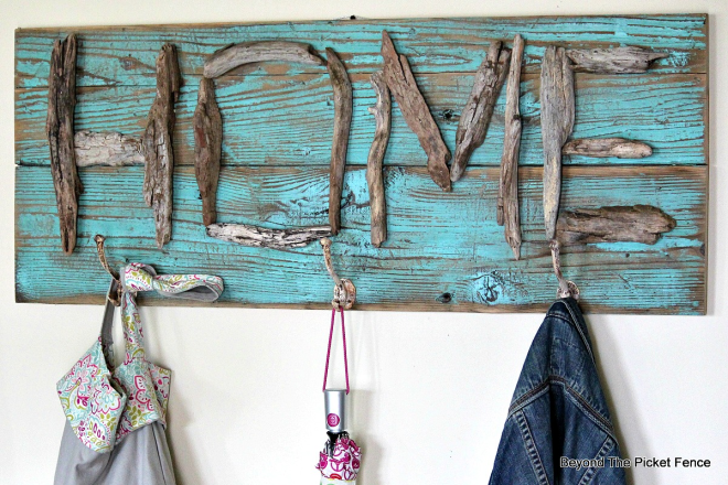 Driftwood HOME coat hook sign by Beyond the Picket Fence, featured on FunkyJunkInteriors.net