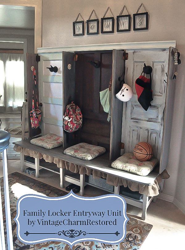 Old door family locker entryway by Vintage Charm Restored featured on FunkyJunkInteriors.net