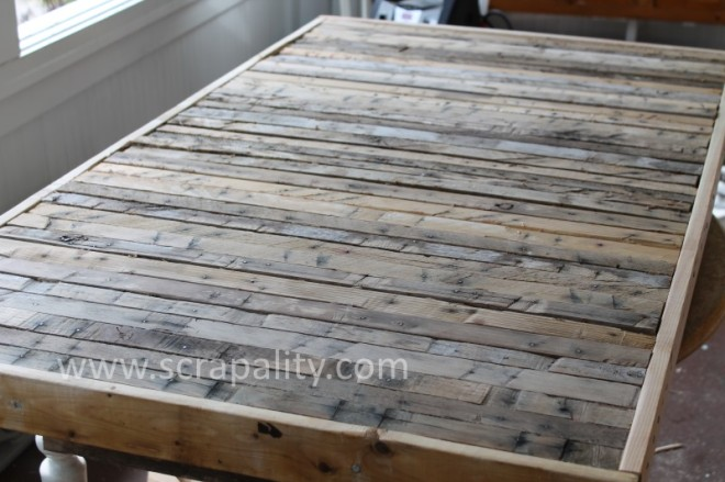 Pallet countertop for kitchen island by Scrapality, featured on FunkyJunkInteriors.net