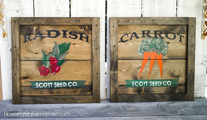 vintage garden seed signs on DIY crate ends by Flower Patch Farmhouse
