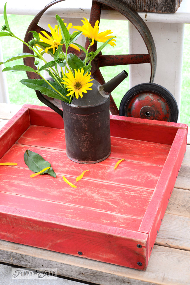 The perfect little all red tray from pallet wood and a story on believing in yourself, via FunkyJunkInteriors.net