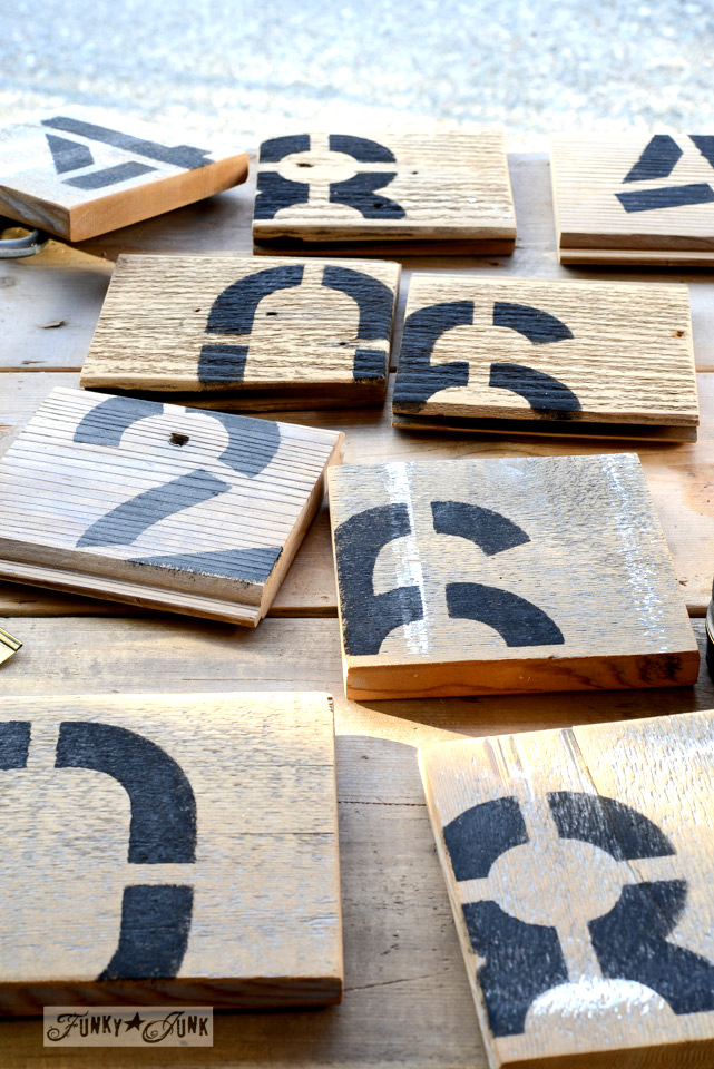 random numbered reclaimed wood coasters