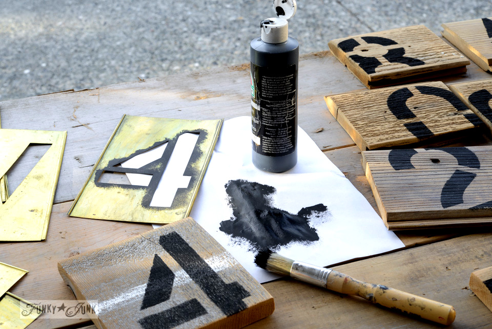 Antique brass stencils / Reclaimed wood number coasters for serious coffee drinker junkers on FunkyJunkInteriors.net