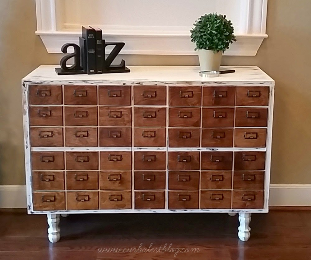 Card catalogue knockoff by Curb Alert featured on FunkyJunkInteriors.net
