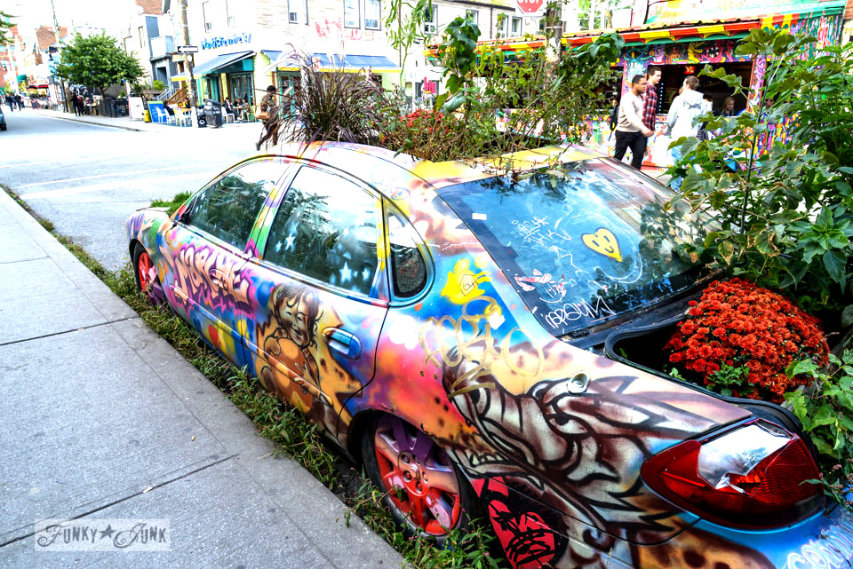 Graffiti car planter at Kensington Market / CN Tower, Wicked, Graffiti Alley. Toronto? Wow. One amazing tour in one post! FunkyJunkInteriors.net