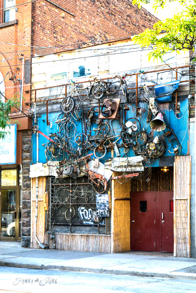 Old bikes hung on a bike shop in downtown Toronto, Ontario