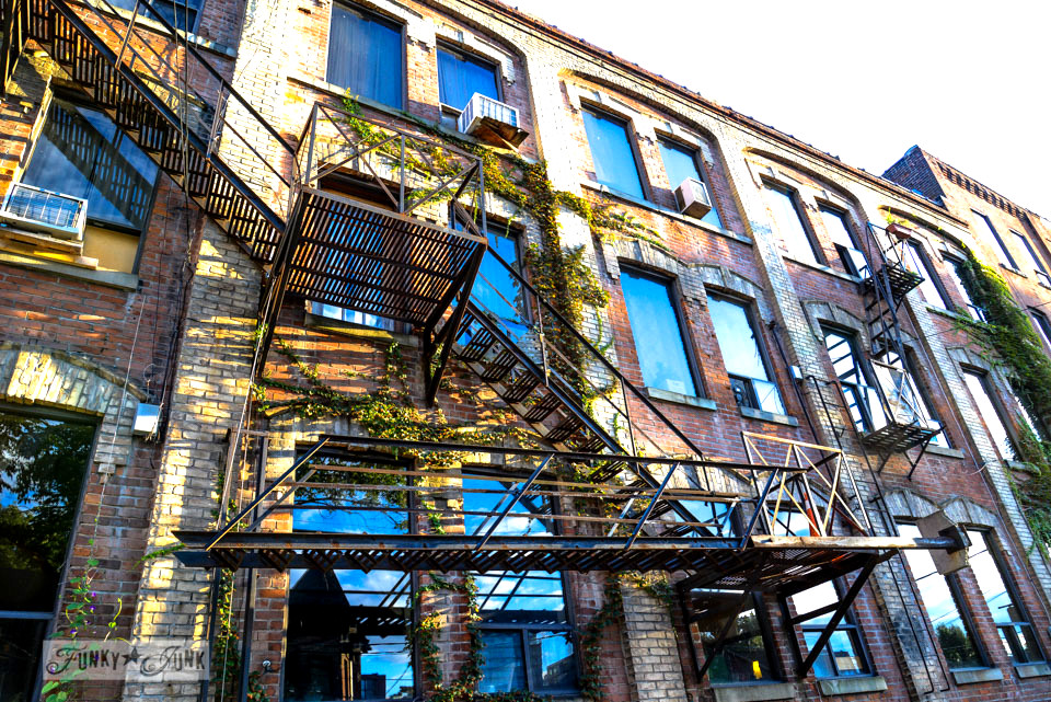 Heritage brick buildings with vines / CN Tower, Wicked, Graffiti Alley. Toronto? Wow. One amazing tour in one post! FunkyJunkInteriors.net