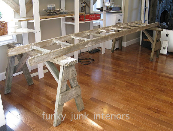 sawhorse and ladder framework for a blogging desk | funkyjunkinteriors.net