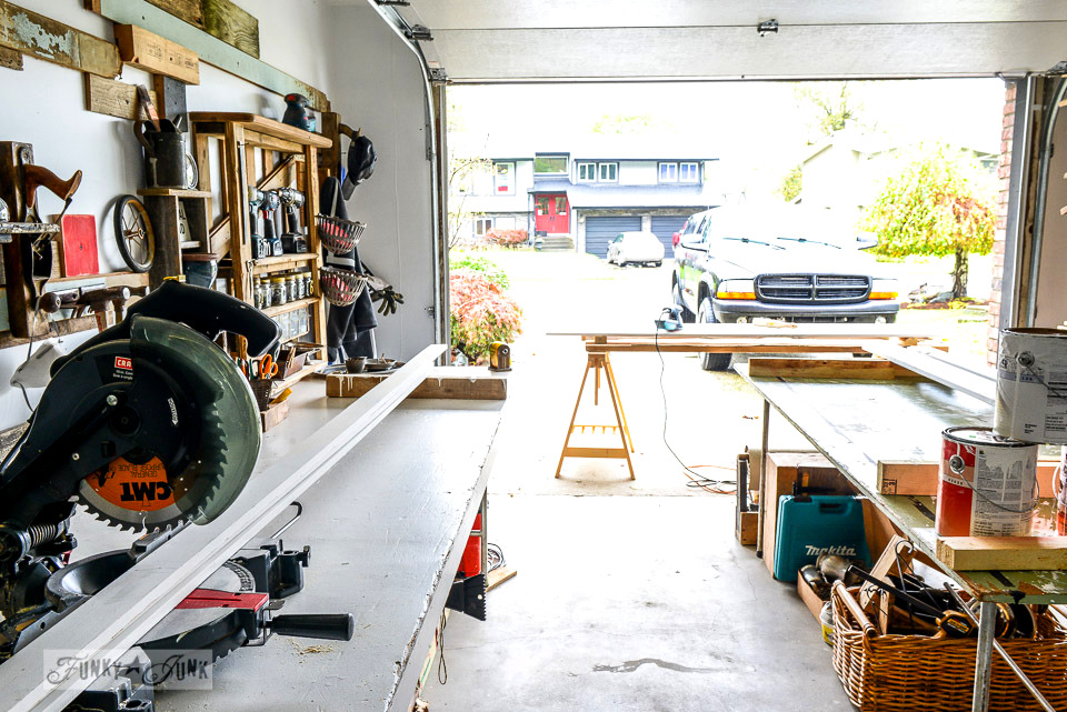 The too little woodworking workshop that could / Working in a single car garage workshop via FunkyJunkInteriors.net