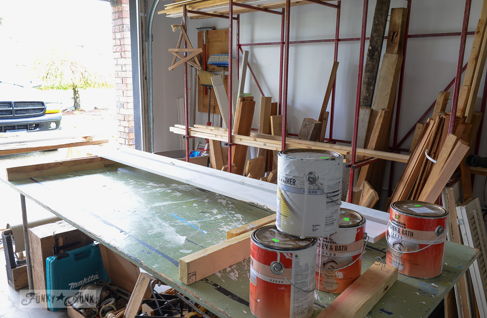 Painting table / Working in a single car garage workshop via FunkyJunkInteriors.net