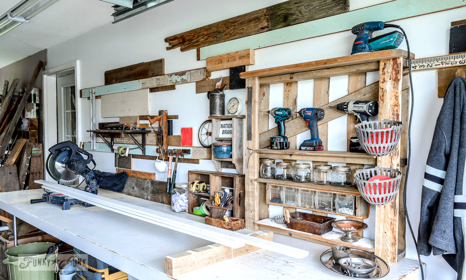 Sawing table / Working in a single car garage workshop via FunkyJunkInteriors.net