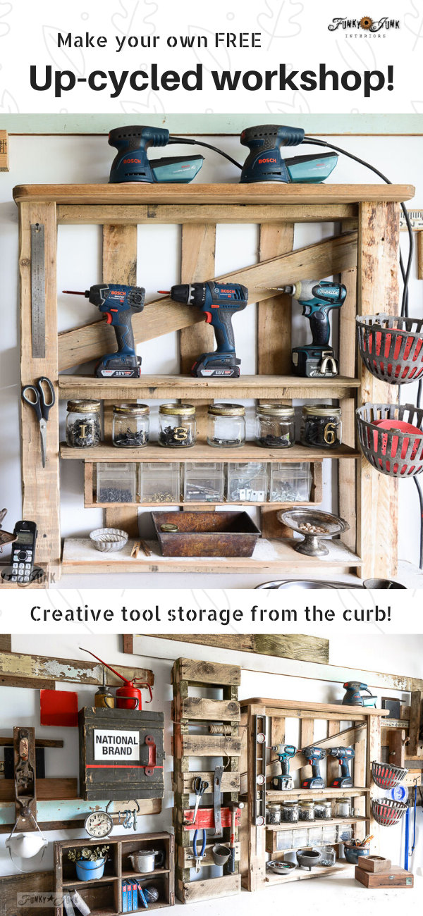 Learn how to make your own FREE Up-cycled workshop with all found objects! Includes pallet shelves, crates on walls, tables for workshop benches, creative ways to store wood, etc! Click to visit all the tutorials! #workshop #storage #upcycle #repurpose