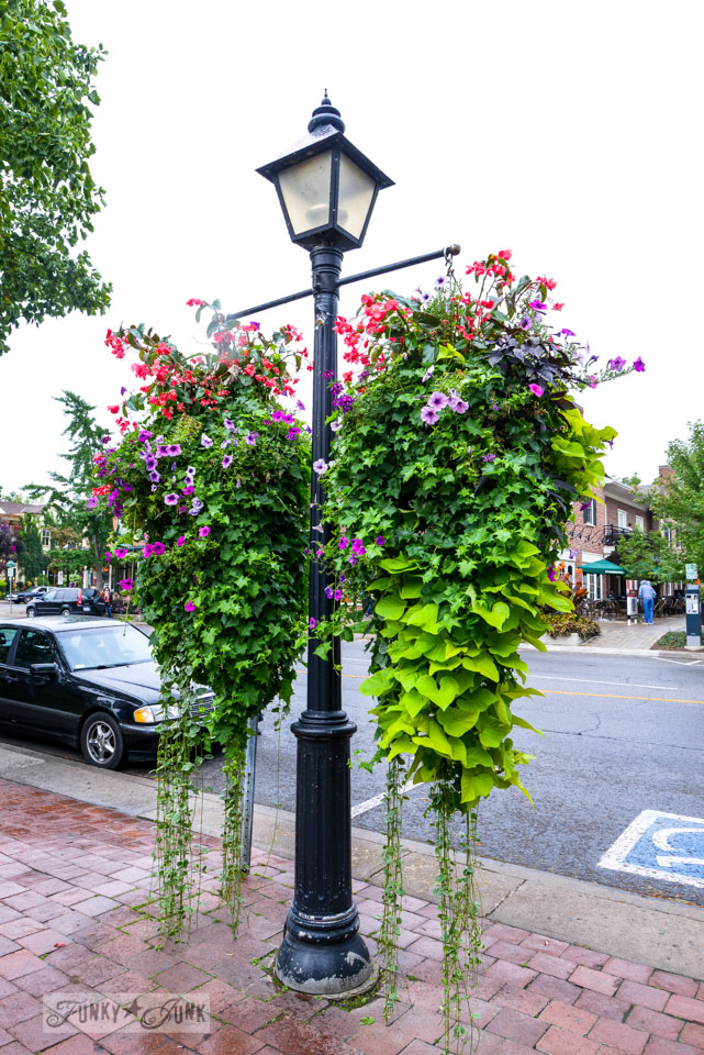 Flower filled lamppost at Niagara on the Lake / A bird's eye view of magnificent Niagara Falls on FunkyJunkInteriors.net