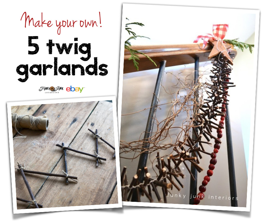 Make your own! 5 Twig garlands. Easy, fast, and totally cool! via FunkyJunkInteriors.net