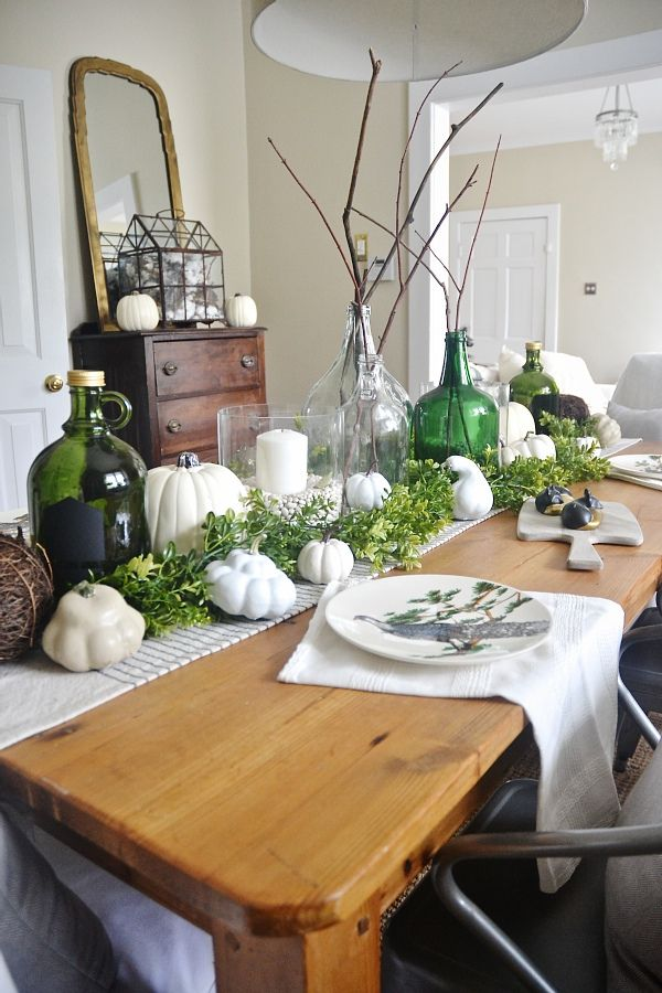 White pumpkin filled fall centrepiece / Liz Marie Blog on FunkyJunkInteriors.net