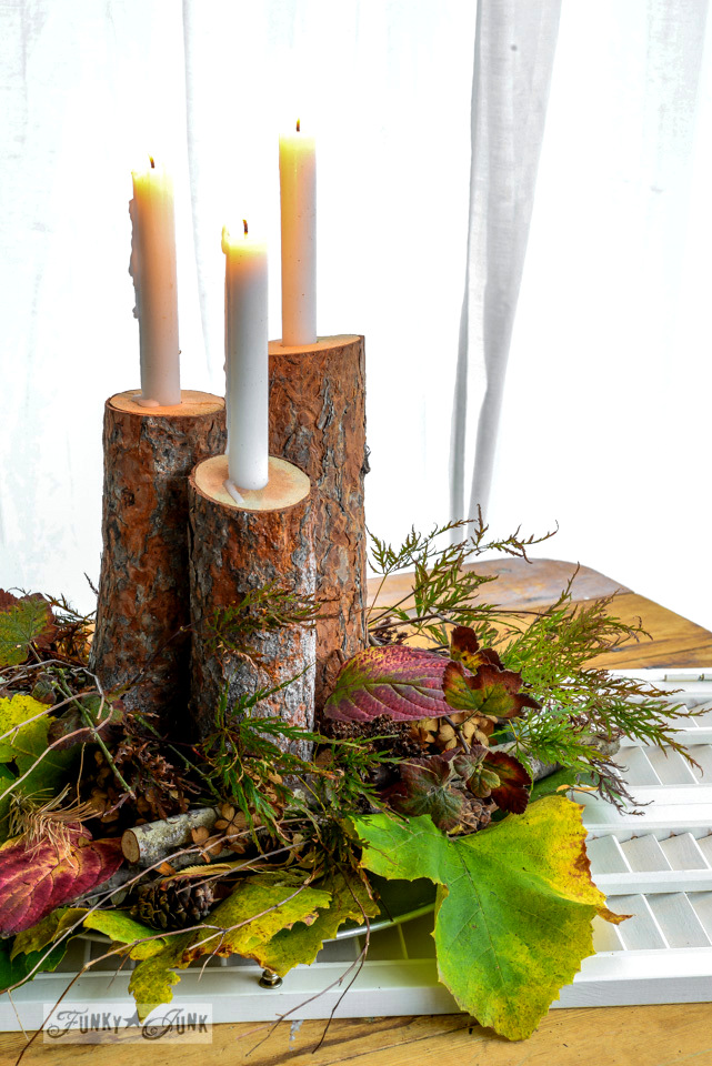 Fall log candle and leaf centrepiece by FunkyJunkInteriors.net