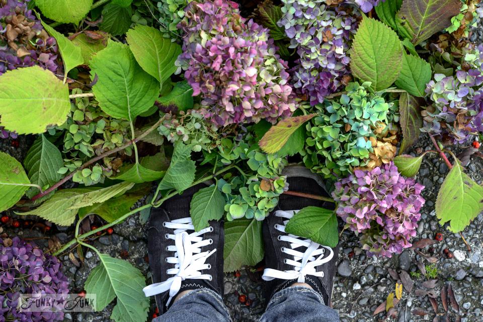 The over abundant hydrangea filled mantel, 2014 edition. via FunkyJunkInteriors.net