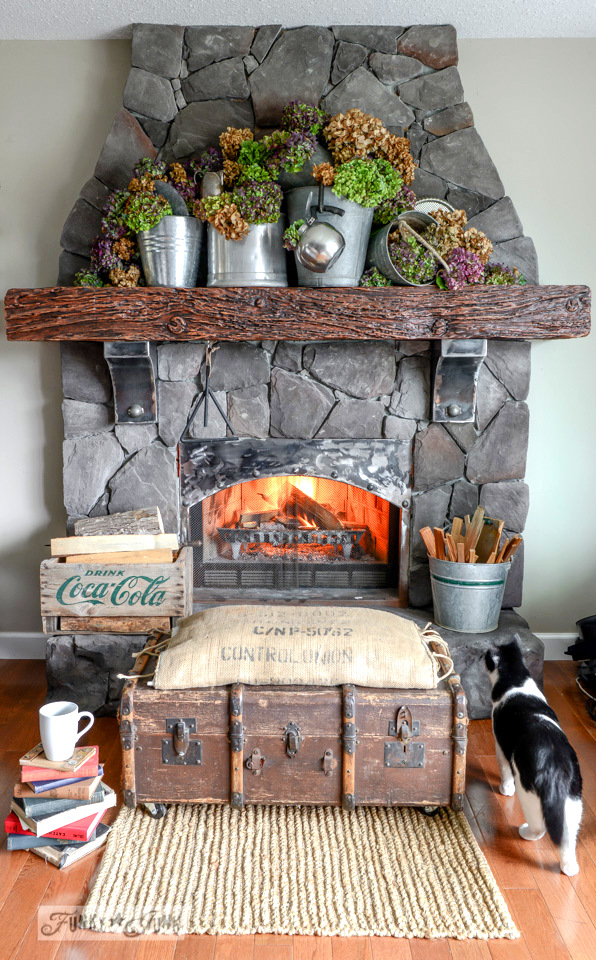 The over abundant hydrangea filled mantel, 2014 edition. via FunkyJunkInteriors.net