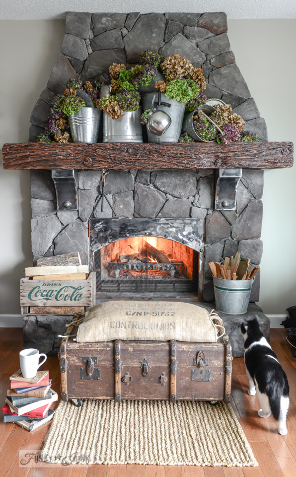 fireplace with fall hydrangeas 2014-6594