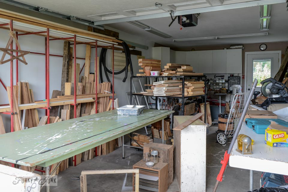Garage workshop with worktable and wood storage