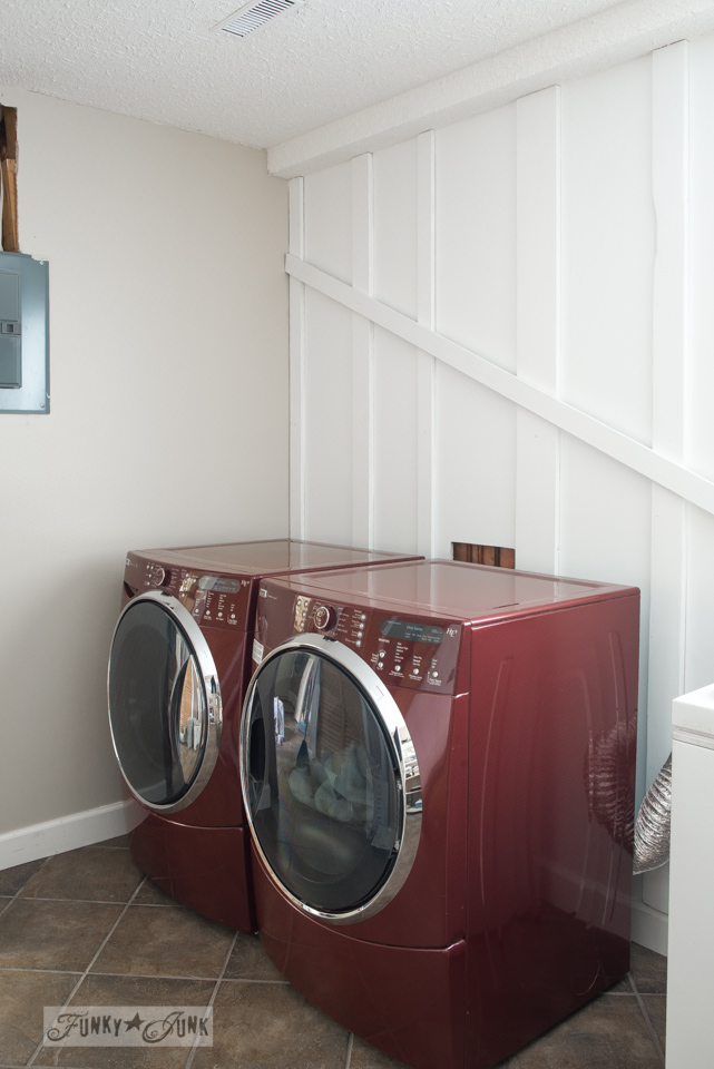 Board and batten white walls / Funky new wall for the laundry room via FunkyJunkInteriors.net
