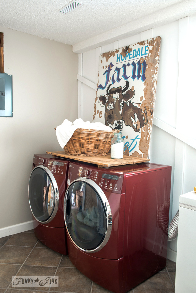laundry room with Farm cow sign / Funky Junk's 2015 Summer Home Junk Tour / FunkyJunkInteriors.net