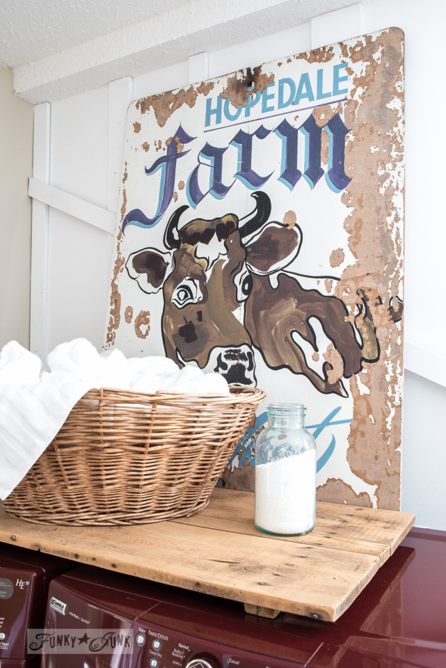 laundry room with Hopedale Farm cow sign / Funky Junk's 2015 Summer Home Junk Tour / FunkyJunkInteriors.net