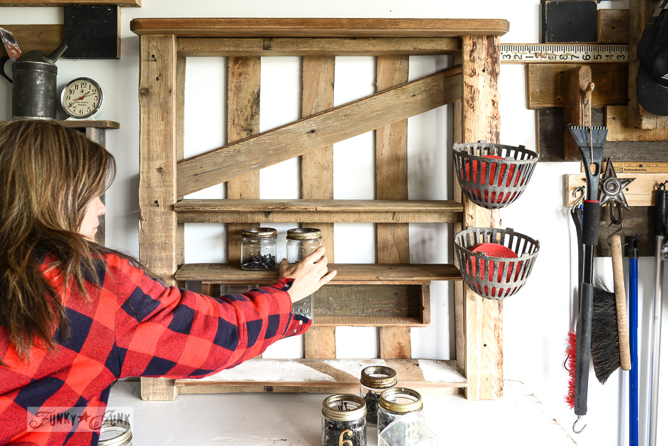 stocking a tool shelf / Organize your tools on an enhanced pallet shelf via FunkyJunkInteriors.net