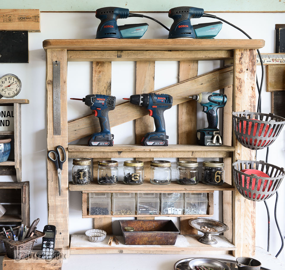 Make this enhanced pallet power tool shelf for a workshop