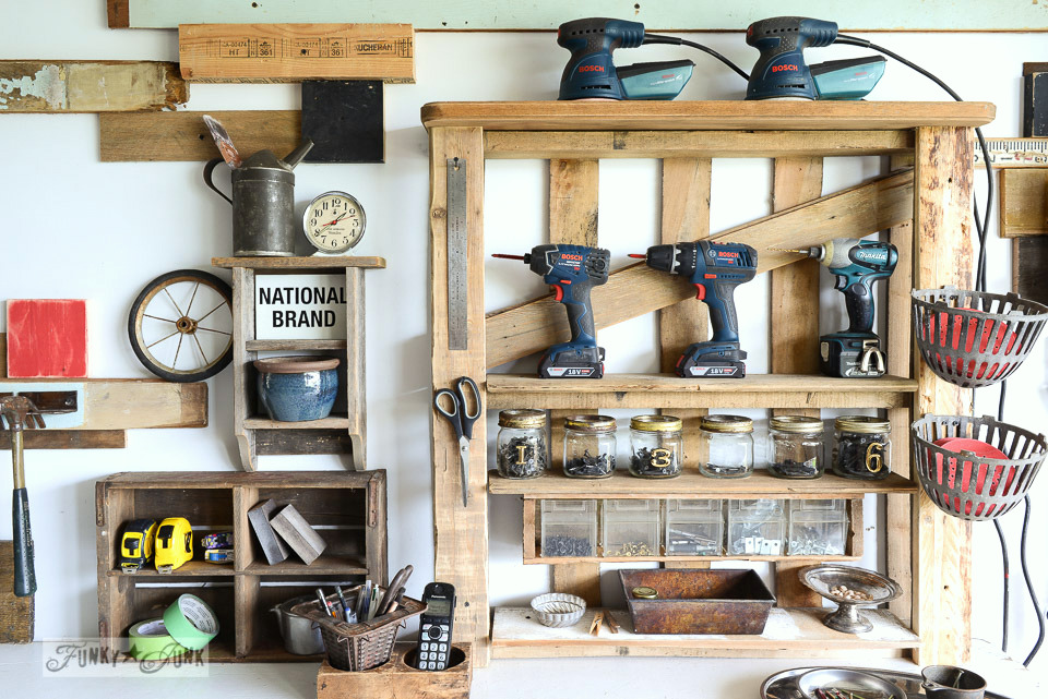 Organize your tools on an enhanced pallet shelf, perfect for non builders via FunkyJunkInteriors.net