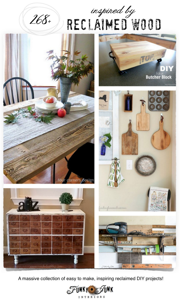 268 + Reclaimed Wood Projects! A massive collection of inspiring, easy to make projects, on FunkyJunkInteriors.net