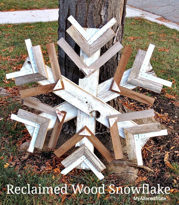Reclaimed wood snowflake, by My Altered State, featured on FunkyJunkInteriors.net