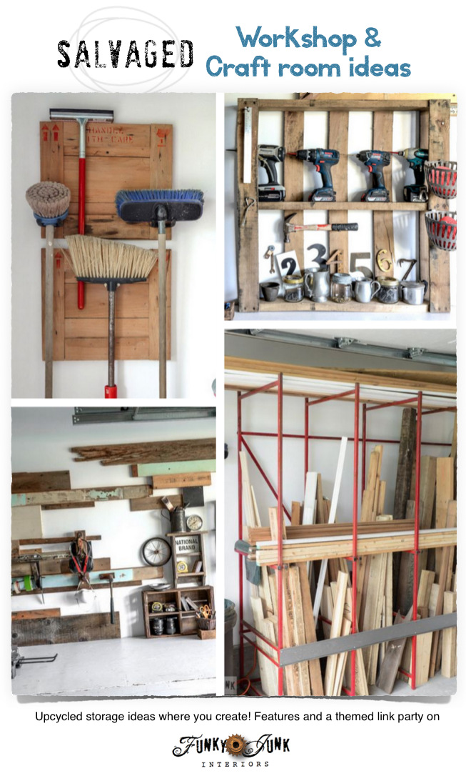 Salvaged workshop and craft room ideas on FunkyJunkInteriors.net