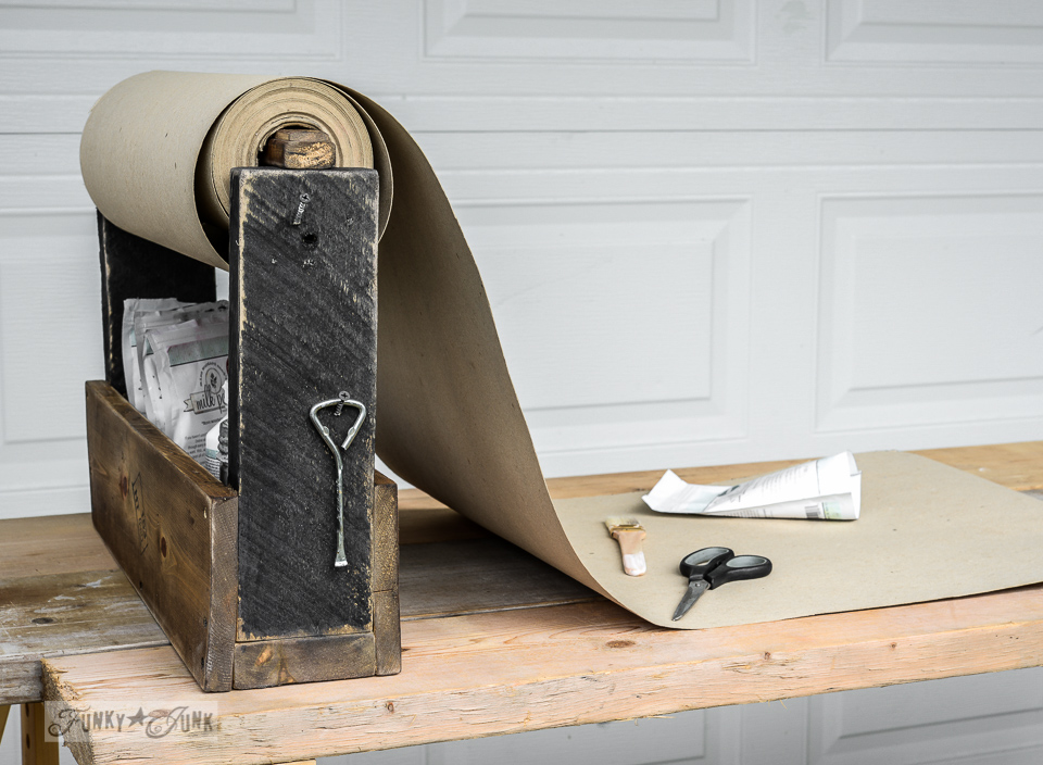 After / Toolbox paint storage paper roll caddy - by complete fluke. And THIS is why repurposing rocks! via FunkyJunkInteriors.net