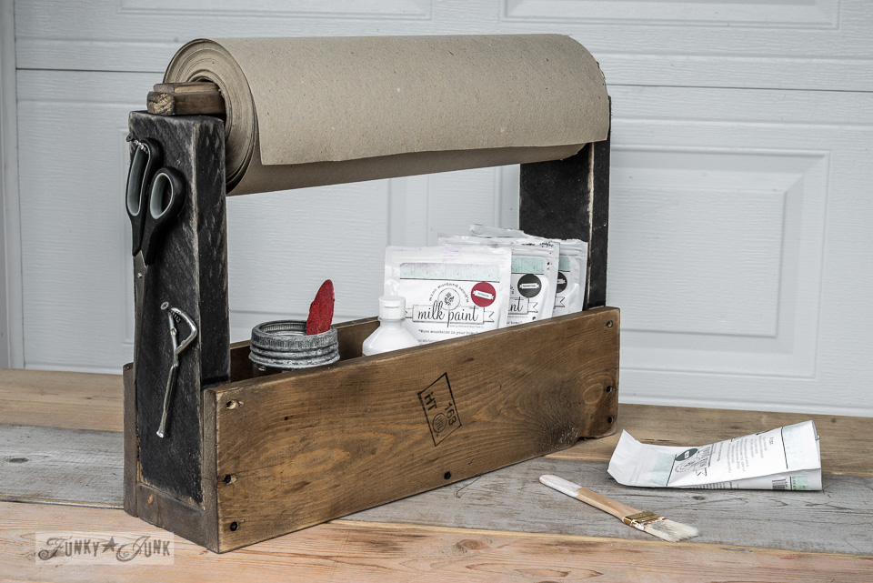 Miss Mustard Seed Milk Paint in toolbox paper caddy | funkyjunkinteriors.net