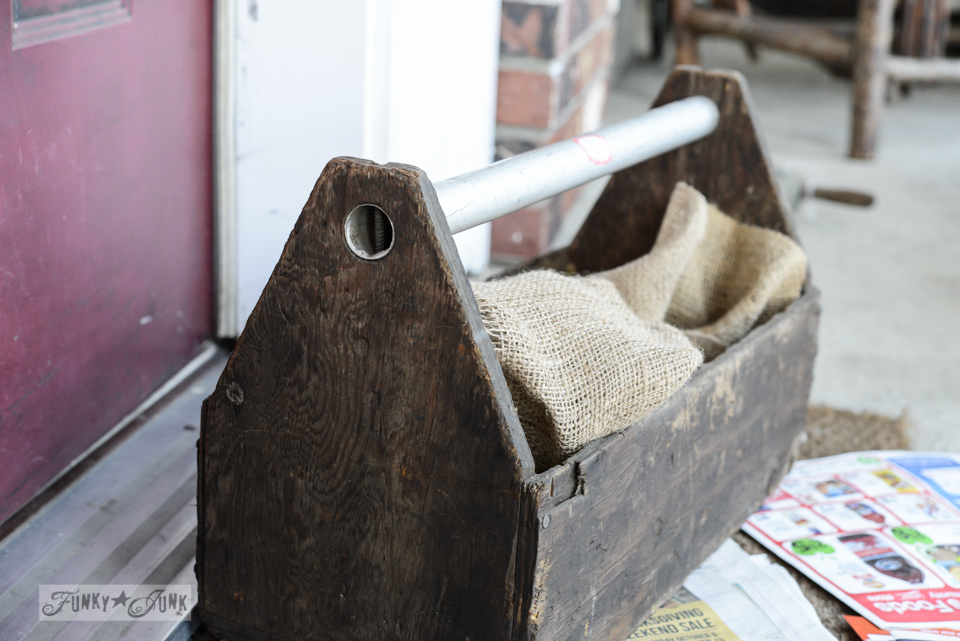 rustic toolbox / part of Inspired by dried hydrangeas in a new toolbox via FunkyJunkInteriors.net