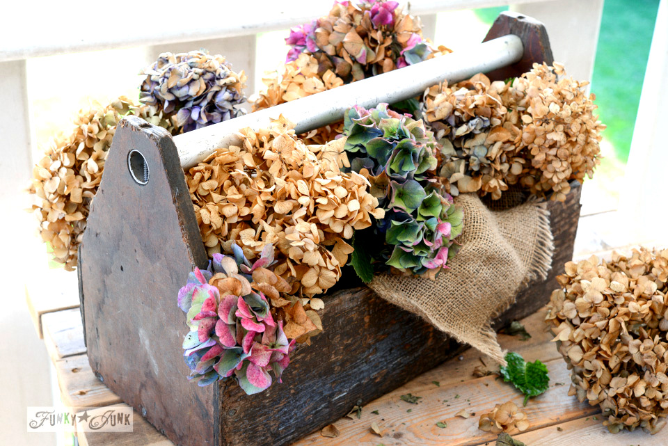 Fall decorating - hydrangea toolbox centrepiece by FunkyJunkInteriors.net