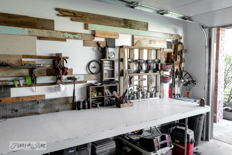 A dream workshop reveal, in a single car garage, created for free from curbside finds / funkyjunkinteriors.net