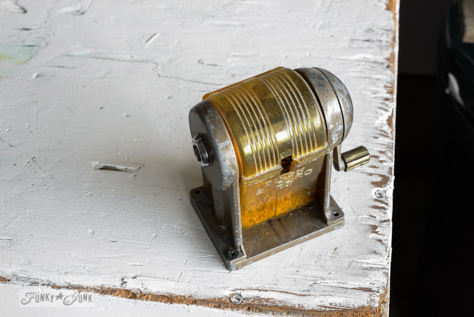 vintage pencil sharpener / 8 - Celebrating the curbside workshop rack / are you celebrating small successes along the way? via FunkyJunkInteriors.net