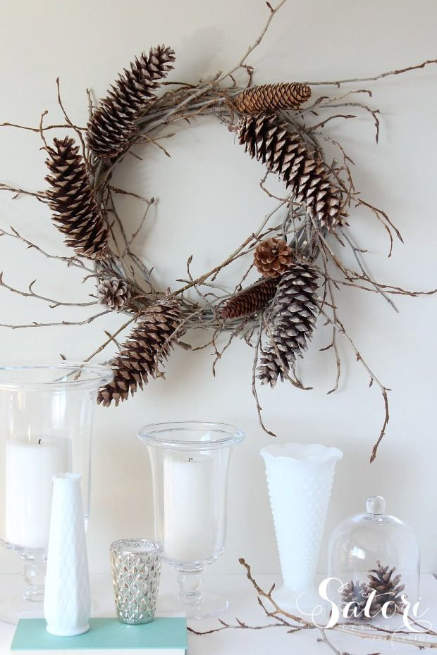 Woodland wreath with vines and pinecones, by Satori Design, featured on FunkyJunkInteriors.net