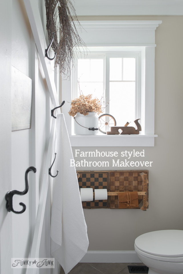 Learn how to create your own salvaged farmhouse bathroom makeover! Includes farmhouse window trim, planked popcorn ceilings, board and batten wall and lots of salvaged decorating! Click the link to visit all the tutorials!