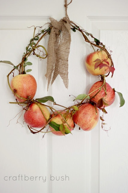 Fresh apple and vine wreath, by Craftberry Bush, featured on FunkyJunkInteriors.net
