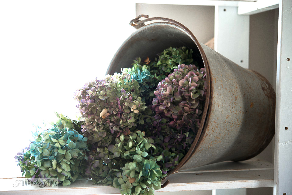 bucket of dried hydrangeas in an office / A fall home tour with hydrangeas and junk via FunkyJunkInteriors.net