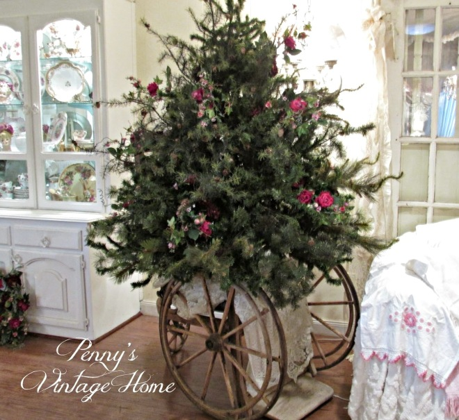 How to make a short, fat, faux Christmas tree by Penny's Vintage Home, featured on FunkyJunkInteriors.net