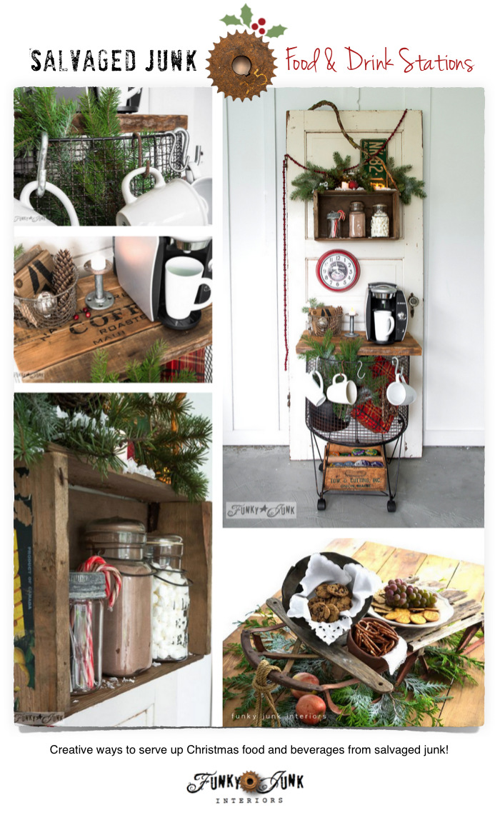 Salvaged junk Christmas food and drink stations on FunkyJunkInteriors.net