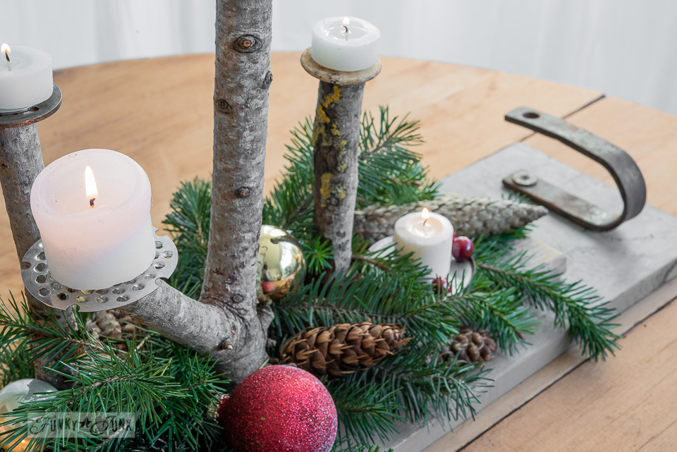 Branch Christmas candle centrepiece